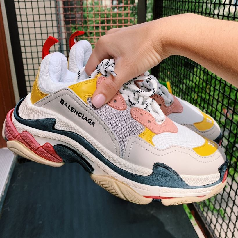 balenciaga triple s vàng hồng đỏ replica 1:1, Balenciaga Triple S Cream Yellow Red Replica