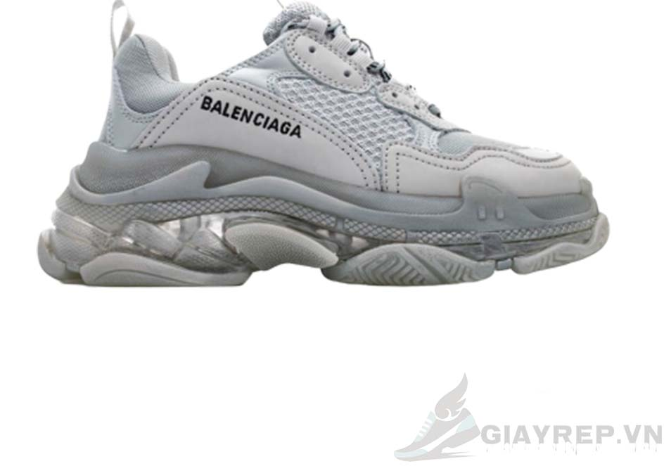 Balenciaga Triple S Grey Clear Sole replica 1:1, Balenciaga Triple S trắng xám Replica
