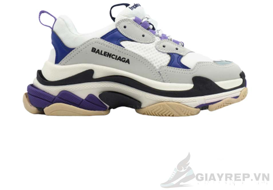 Balenciaga Triple S Purple White Grey replica 1:1, Balenciaga Triple S Purple White Grey Replica, Balenciaga Triple S Purple White Grey Rep 11, Balenciaga Triple S Tím Trắng và Xám