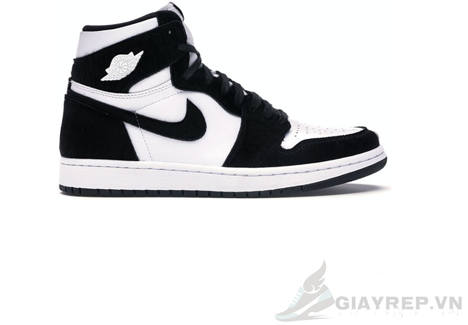 Giày Nike Air Jordan 1 Retro High Black White Bản Da 1